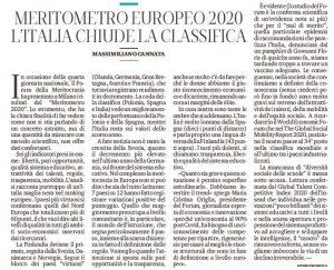 Il commento di Massimiliano Cannata uscito per Il Mattino sul Meritometro 2020.